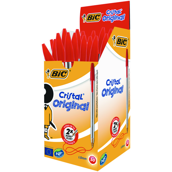 Bic Cristal Medium Ballpoint Red Pen (Pack of 50) 837361