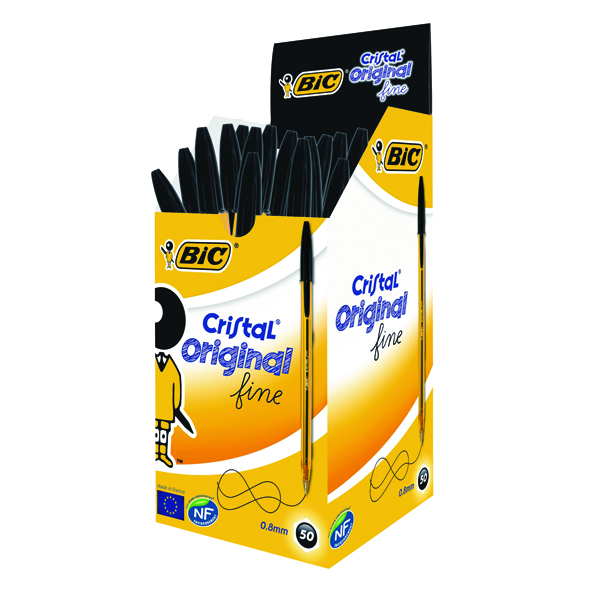 Bic Cristal Fine Ballpoint Black Pen (Pack of 50) 872731