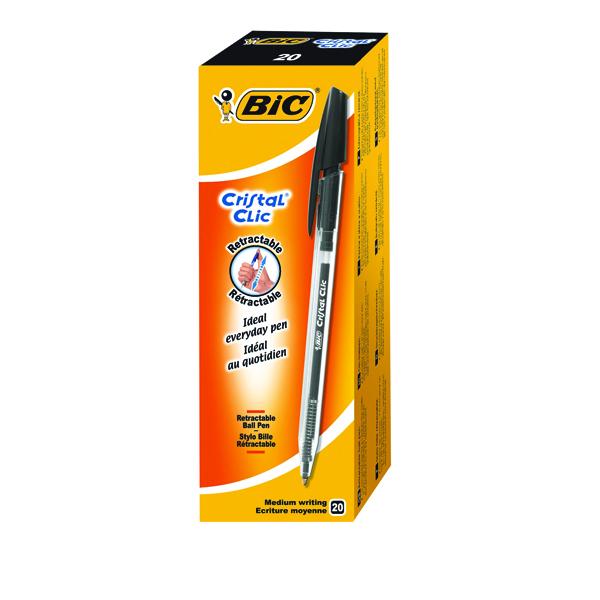 Bic Cristal Clic Retractable Ballpoint Pen Medium Black (Pack of 20) 850732