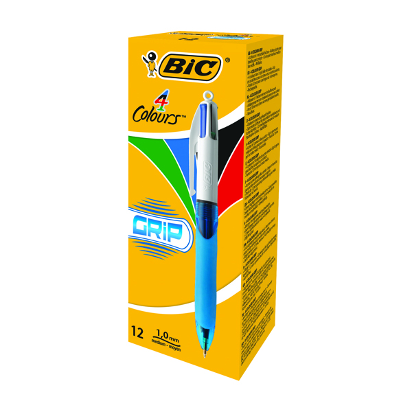 Bic 4 Colours Comfort Grip Retractable Ballpoint Pen (Pack of 12) 8871361
