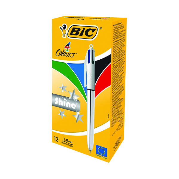 Bic 4 Colours Shine Retractable Ballpoint Pen (Pack of 12) 919380