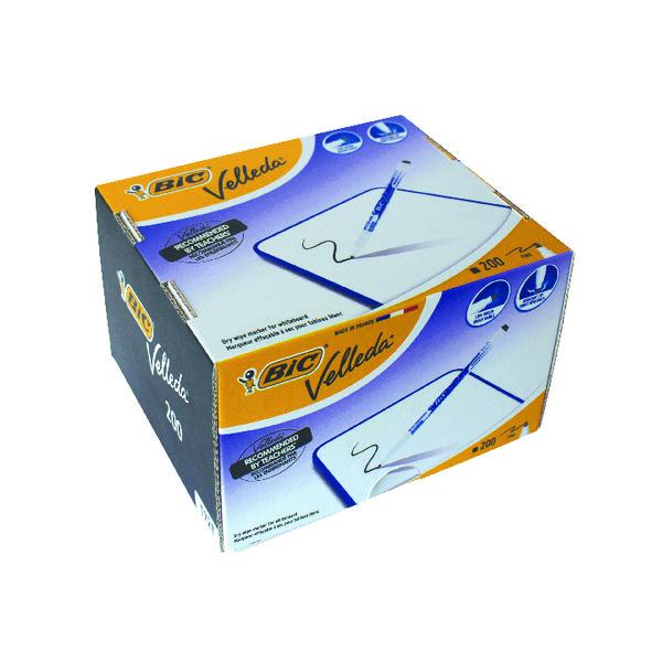 Bic Velleda 1721 Drywipe Marker Fine Tip Black (Pack of 200) 929178
