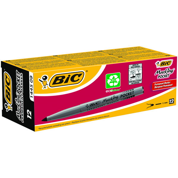 Bic Pocket Permanent Black Bullet Tip Marker (Pack of 12) 8209021