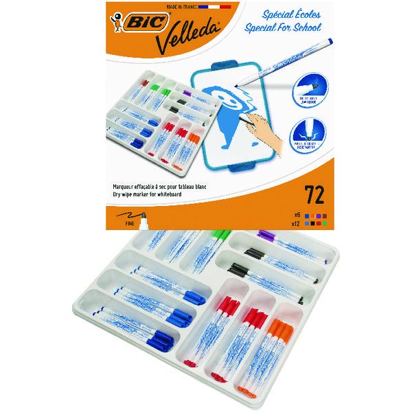 Bic Velleda 1721 Drywipe Marker Fine Tip Assorted (Pack of 72) 875790