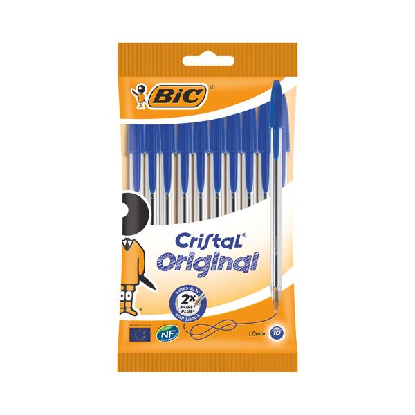 Bic Cristal Ballpoint Pen Medium Blue (Pack of 10) 830863