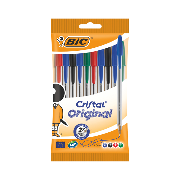 Bic Cristal Medium Ballpoint Pens Medium Assorted (Pack of 10) 830865