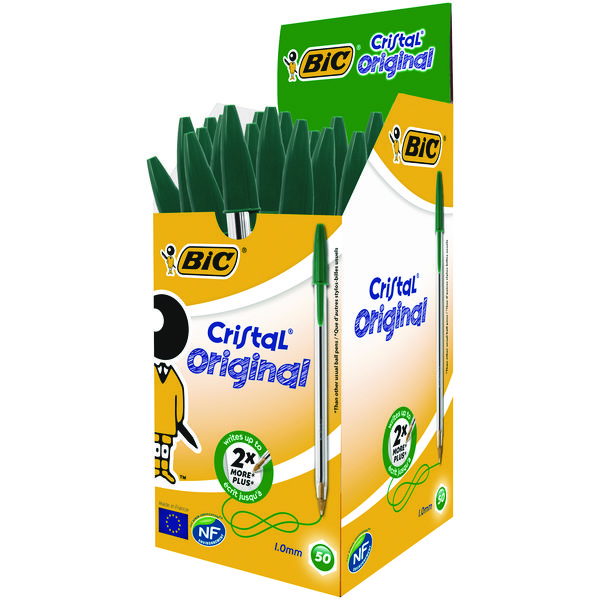 Bic Cristal Medium Ballpoint Green Pen (Pack of 50) 8373629