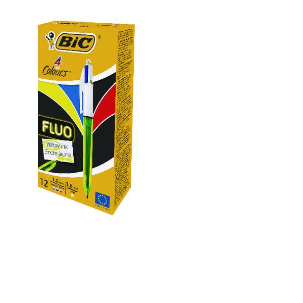 Bic 4 Colours Fluo Bpoint Pen P12 BOGOF