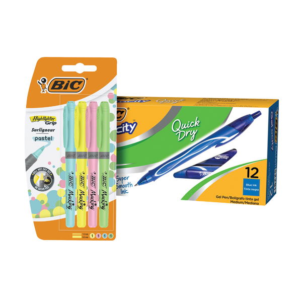 Bic Gel-ocity Quick Dry Pen Blue (Pack of 12) FOC Bic Highlighter Grip