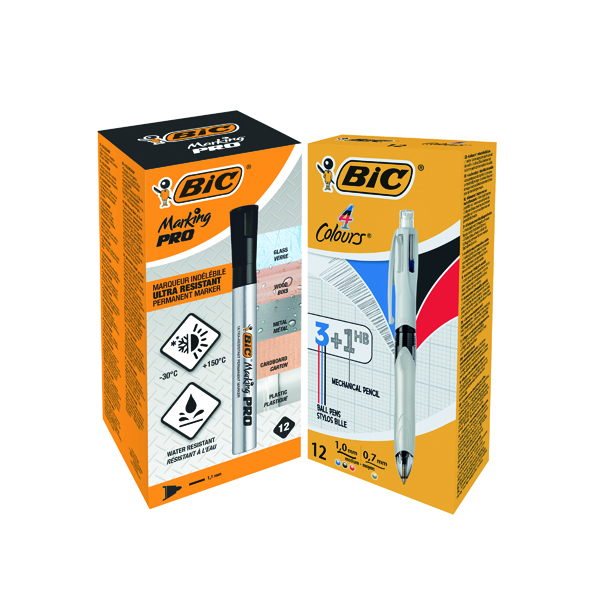 Bic 4 Colours Ballpoint Pen and Pencil (Pack of 12) FOC Bic Marking PRO Markers Black Pk12 BC810750