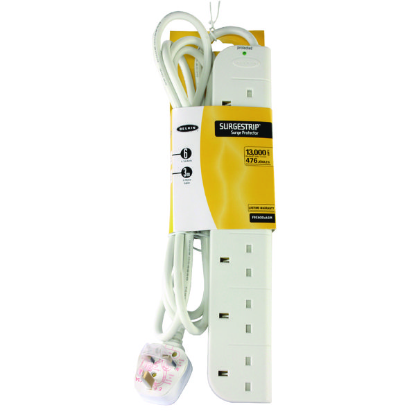 Belkin E-Series SurgeStrip Surge Protector 6-Socket 3m White F9E600UK3M