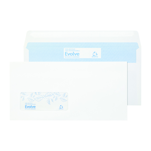 Evolve DL Envelope Recycled Window Wallet Self Seal 90gsm White (Pack of 1000) RD7884
