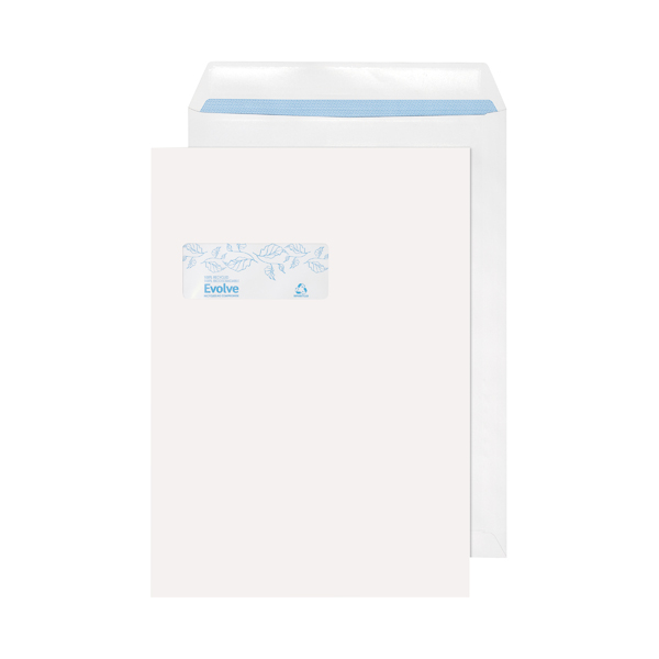 Evolve C4  Envelopes Window Recycled Pocket Self Seal 100gsm White (Pack of 250) RD7892