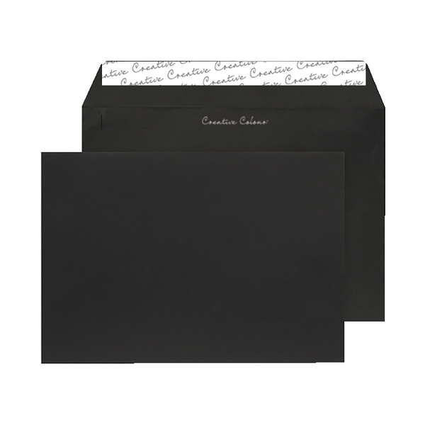 C5 Wallet Envelope Peel and Seal 120gsm Jet Black Black (Pack of 250) 314