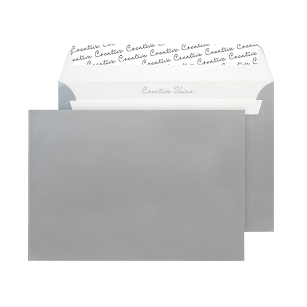 C5 Wallet Envelope Peel and Seal 130gsm Metallic Silver Black (Pack of 250) 312