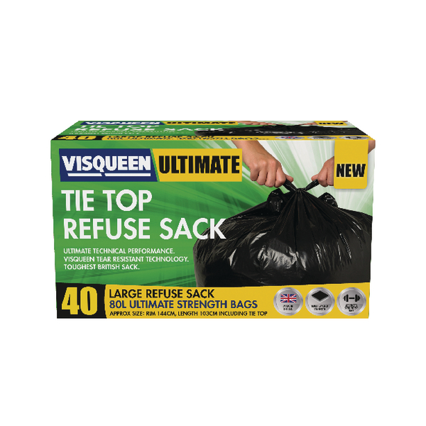 Visqueen Ultimate Tie Top Refuse Sack 80 Litre Black (Pack of 40) RS057769
