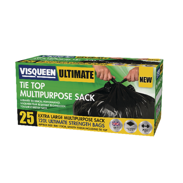 Visqueen Ultimate Tie Top Multipurpose Sack 120 Litre Black RS057771