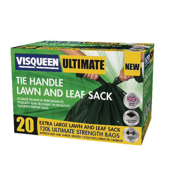 Image for Visqueen Ultimate Tie Handle Lawn and Leaf Sack 120 Litre Green RS057772