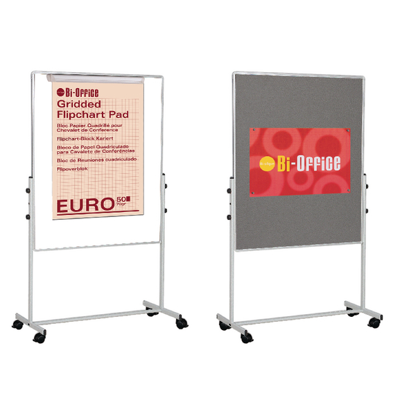 Bi-Office White Portable Duo Board & Flipchart Easel EA4724075