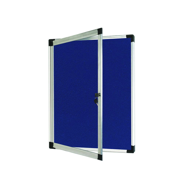 Bi-Office External Display Case 670x934mm Blue Felt Aluminium Frame VT630107760