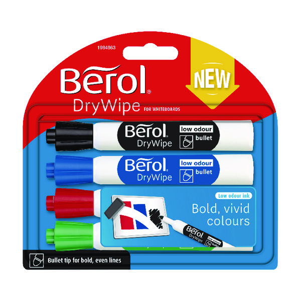 Berol Drywipe Marker Standard Assorted (Pack of 48) 1984864