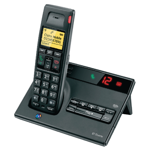 BT Diverse 7150 R DECT Cordless Phone With Answer Machine Black 060744
