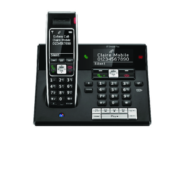 BT Diverse 7460 R DECT Cordless Phone With Answer Machine Black 060747