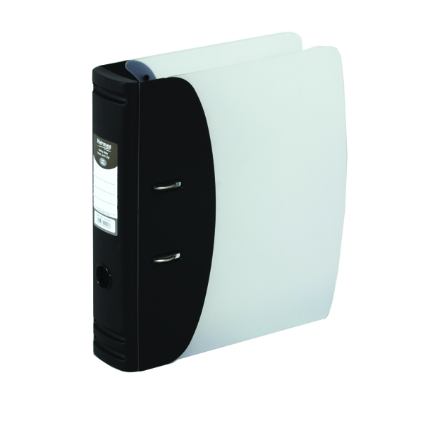 Hermes Heavy Duty Black A4 Lever Arch File (Made from 100% recyclable polypropylene) 832001