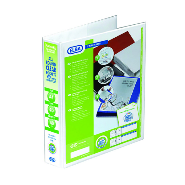Elba Panorama 40mm 4 D-Ring Presentation Binder White (Pack of 10) 400001300