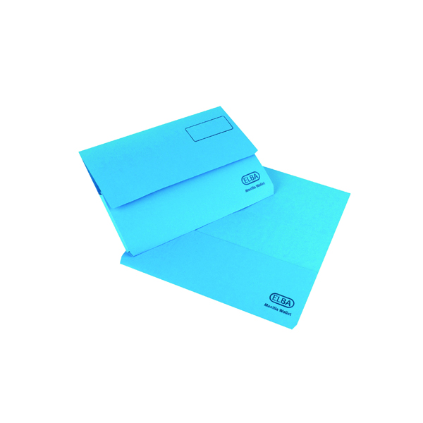 Elba Strongline Document Wallet Bright Manilla Foolscap Blue (Pack of 25) 100090140