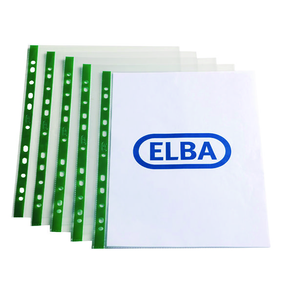 Elba A4 Clear Punch Pocket Green