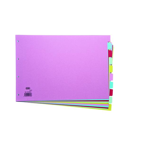 Elba 10-Part Card Divider A3 Assorted 100080772