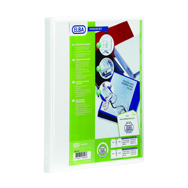 Elba Panorama 50mm 2 D-Ring Presentation Binder A4 White (Pack of 4) 400007674