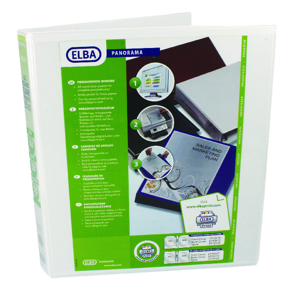 Elba Panorama 25mm 2 D-Ring Presentation Binder A4 White (Pack of 6) 400008413