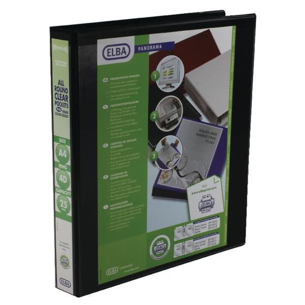 Elba Panorama 25mm 4 D-Ring Presentation Binder A4 Black (Pack of 6) 400008414