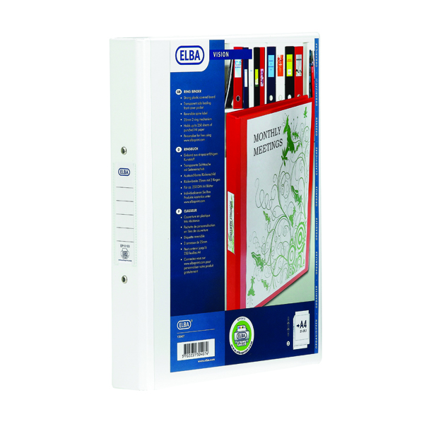 Elba Vision 25mm 4 O-Ring Binder PVC A4 White 100080879