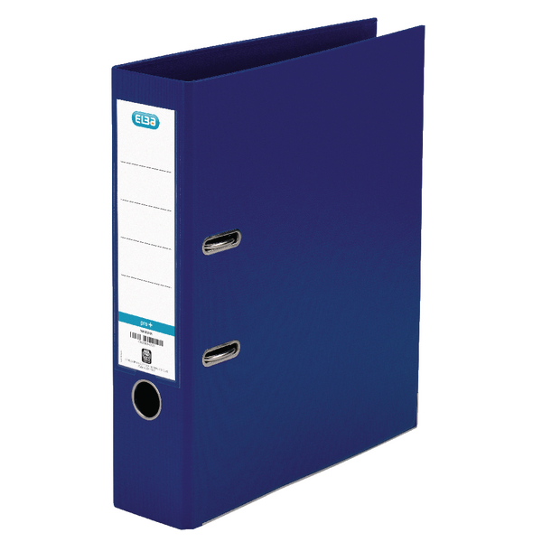 Elba 70mm Lever Arch File Plastic A4 Blue (Front cover locks to keep file closed) 1450-01