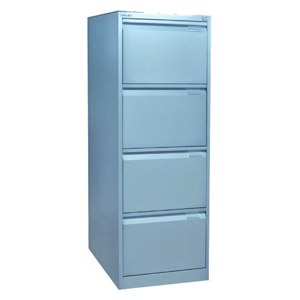 Bisley 4 Drawer Filing Cabinet Flush Fronted Goose Grey BS4EGY