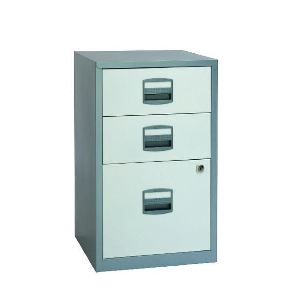 Bisley 3 Drawer A4 Home Filer Silver/White