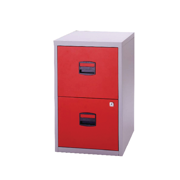 Bisley A4 Personal Filing Cabinet 2 Drawer Lockable Grey and Red