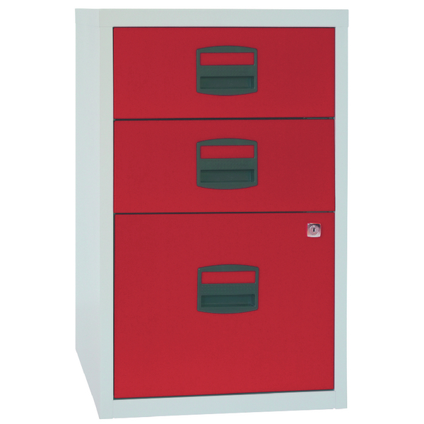Bisley A4 Home Filer 3 Drawer Lockable Grey and Red