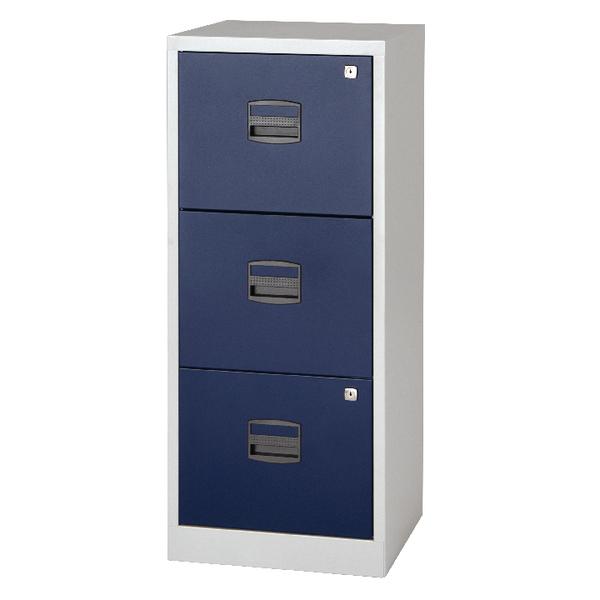 Bisley A4 Homefiler 3 Drawer Grey Blue