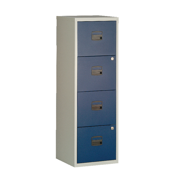 Bisley A4 Homefiler 4 Drawer Grey Blue BY78729
