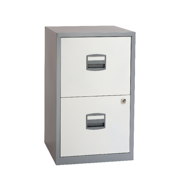 Bisley 2 Drawer A4 Home Filer Silver/White