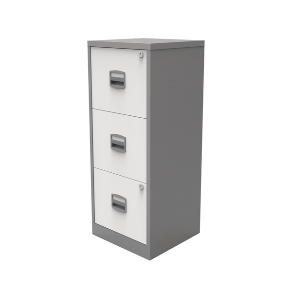 Bisley 3 Drawer A4 Home Filer Silver/White