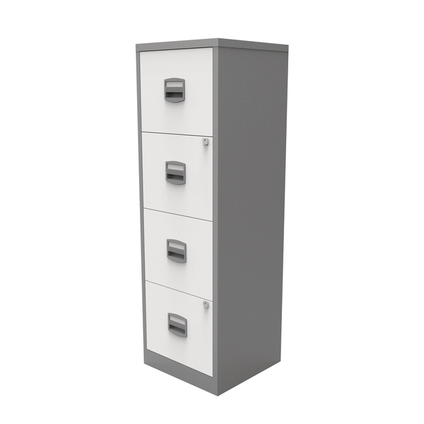 Bisley A4 Homefiler 4 Drawer Silver White