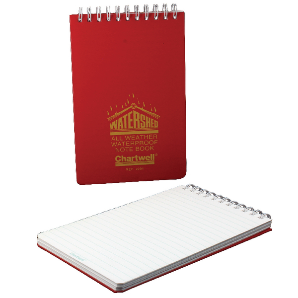 Chartwell Ruled Watershed Waterproof Book 101x156mm Red 2291