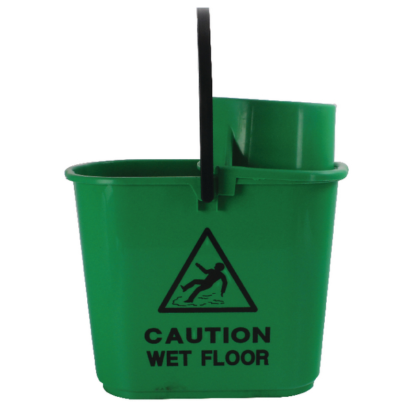 2Work Green Plastic Mop Bucket with Wringer 15 Litre 102946GN