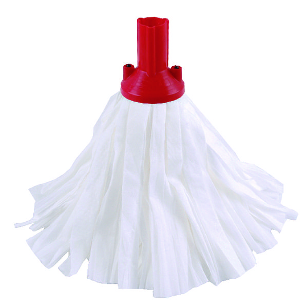 10 x Exel Big White Mop Head Red (Can absorb 3 times its own weight) 102199RD