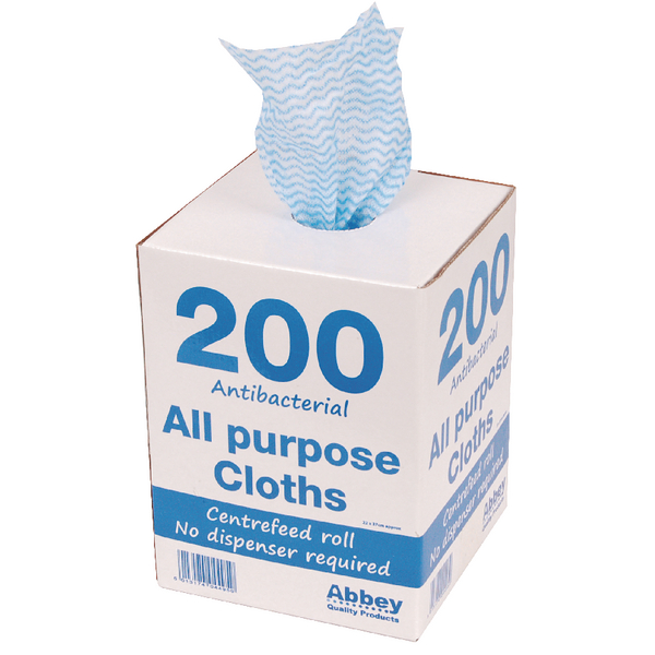 Blue Antibacterial Cloths on a Roll 220 x 370mm (Pack of 200) 100247BU